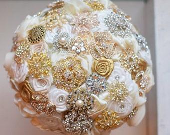 Brooch Bouquet Satin Flower Brooch Bouquet