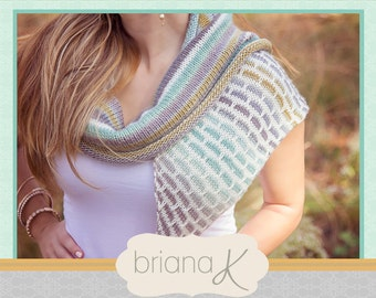 Brick and Mortar Shawl Wrap KNIT PATTERN, Instant Download