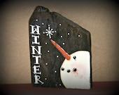 Primitive Snowman Decor~Hand Painted Snowman on Reclaimed Wood~Rustic Snowman Decor~Primitive Home Decor~Winter Decor~Snowmen