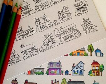 Neighborhood Coloring Card, 5x7