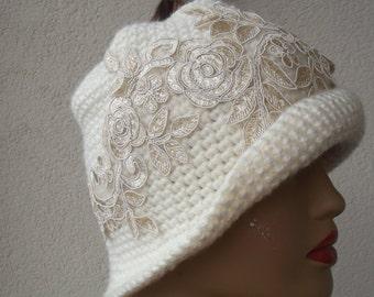 Cream crochet hat fedora hat cream crochet beret hat  accessories crochet hat beanie crochet beret