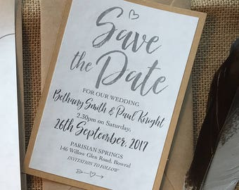 Printed Rustic Wedding Save the Date Card – Announcement, Getting married, Elegant, Ivory Parchment paper, Black, Kraft paper, envelope