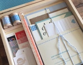 Letter Writing Set with Wooden Box, Letter Writing Kit, Assorted Stationery Items - Great Friend Gift