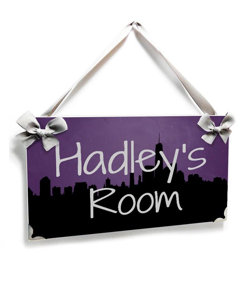 Personalized Bedroom Door Sign New York Buildings Inspired