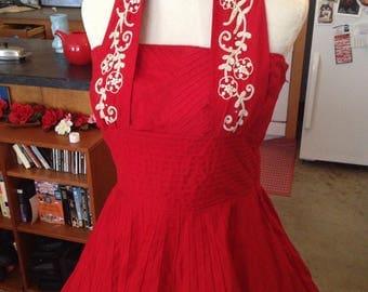 True red halter pinup bombshell Marilyn dress size medium