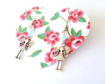 Angel earrings. Turquoise angel earrings. Turquoise earrings. Christmas earrings. Linnepin010