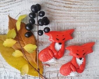 Fox brooch, Little funny pin Fox Cub, Animal jewelry Miniature