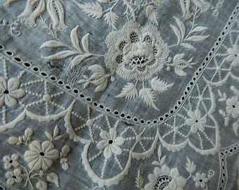Beautiful antique whitework embroidered heirloom handkerchief bridal hanky repairs as found