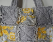 Shabby rag tote, small grey and yellow rag bag with slip pockets and velcro closure