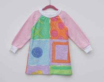 Upcycled Colourful Toddler Jumper Dresse