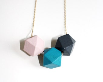 Wooden Bead Hexagon Necklace.              Simple Geometric Shapes Necklace.     Minimal Modern Jewelry with a Charitable Donation