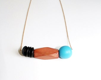 Fun Wooden Geometric Necklace.              Simple Geometric Shapes Necklace.     Minimal Modern Jewelry with a Charitable Donation
