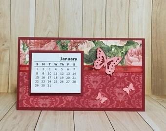 Calendar, desk calendar, yearly calendar, butterfly, floral.