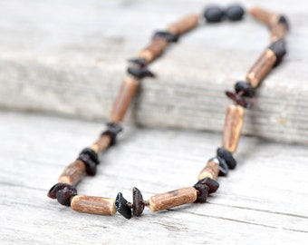 Baltic Amber Teething necklace with hazelwood
