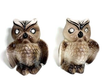 Enesco Owl Salt and Pepper Shakers with Rhinestone Eyes