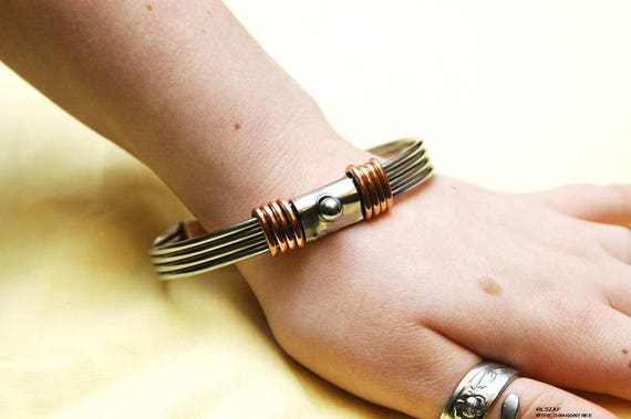 Artemis, stainless steel and copper bracelet, made to order, you pick size