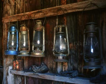 Lanterns Tin Cans Bodie Ghost Town California Historical, Original Photograph, Fine Art Photography matted, signed 7x10 Original Photograph