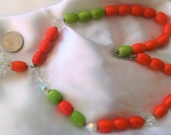 "Necklace Handmade Beaded Orange Pale Green Ceramic and Austrian Crystal Beads  Big Bold Chunky 23"" Long, Y Necklace Big Crystal Ball"