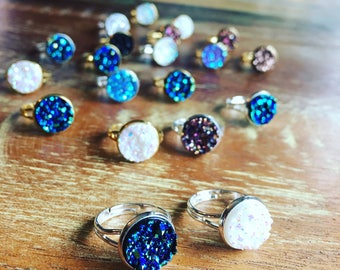 Druzy ring / galaxy ring / crystal boho ring