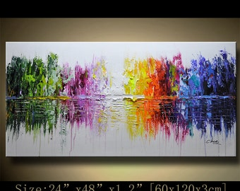 Abstract Wall Painting, expressionism Textured Painting,Impasto Landscape Painting  ,Palette Knife Painting on Canvas by Chen 1208