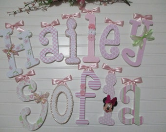 HAILEY SOFIA - 12.00 PER Girl name, wooden letters, whimsical font, light pink, light green, butterfly, minnie mouse, buttons, bows, flowers