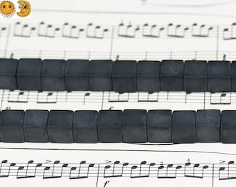 15 inch strand of natural Black Onyx matte cube shape beads 4mm 6mm 8mm & 10mm for choose
