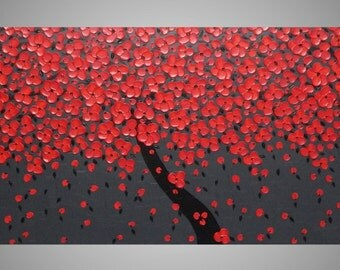 72 x 24 Large Painting Black Grey Red Cherry Blossom Tree Abstract Wall Art Wall Decor 3D Textured Ready to Hang MADE TO ORDER by ilonka