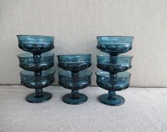 Vintage Indiana Glass Dessert Dish, Teal Blue King's Crown Pattern, Set of 8