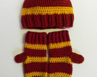 Crochet Maroon and Gold Striped Hat OR Hat and Mittens Set - Harry Potter Inspired