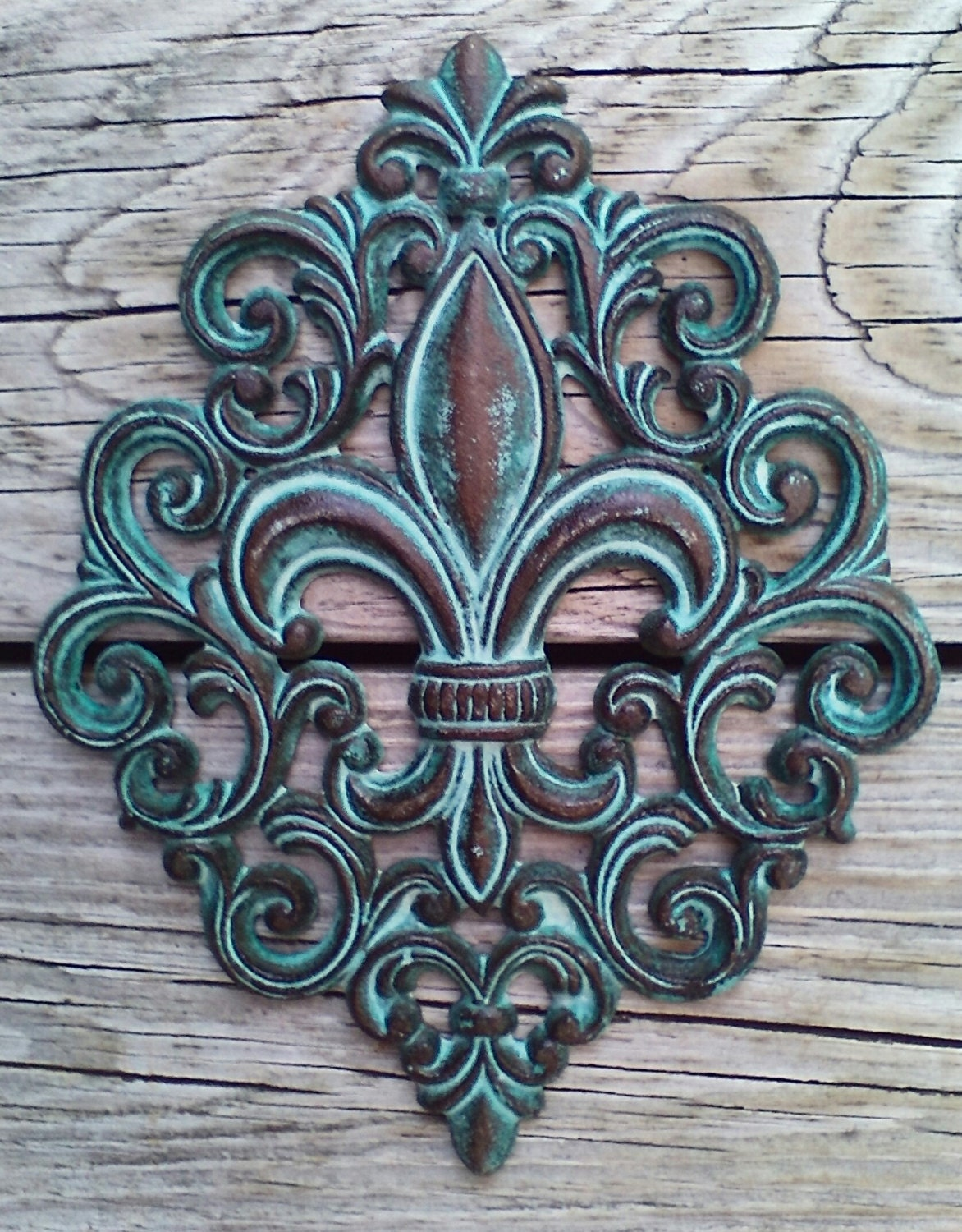 wall art de fleur de lis ii by tava studios turquoise design framed art print wall d cor ebay. Black Bedroom Furniture Sets. Home Design Ideas