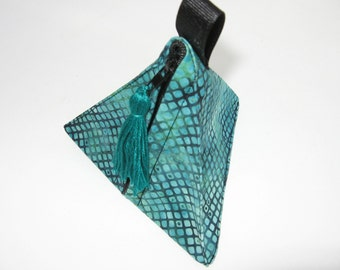 triangular zipper pyramid pouch turquoise triangle