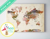 Personalized Push Pin World Map CANVAS World Map Watercolor Terra Vintage-  Countries  - World Map with Pins, Gift Idea, 240 Pins