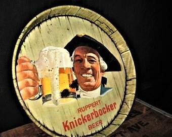 Vintage Knickerbocker Beer Tray - Vintage Ruppert Knickerbocker Beer Tray - Round Knickerbocker Bar Ware Tray