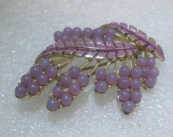 """Vintage Coro Gold Tone Wisteria Brooch,  Enameled Lavender Lucite Beaded, 2.5"""" wide"""