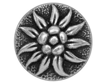 12 Alpine Blossom 5/8 inch ( 15 mm ) Metal Buttons Antique Silver Color