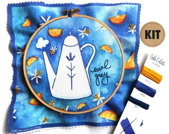 Embroidery Pattern, Craft Kit, DIY Home Decor, Earl Grey Tea Art, Bergamot Kitchen Art, Blue Embroidery Hoop Art, Creative Gifts for Friends