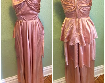 1930s 1950s Rose Pink liquid satin gown sz s xs as is