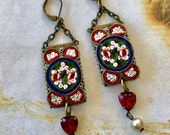 Red Micro Mosaic Earrings Art Deco Bohemian Renaissance Romantic Bride Bride Wedding Valentine Heart