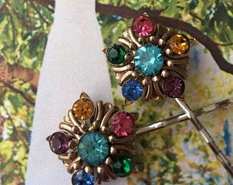 HOLIDAY SAVINGS Decorative Hair Pins Czech Bridal Multi Color Filigree Hair Jewelry Bobby Pins