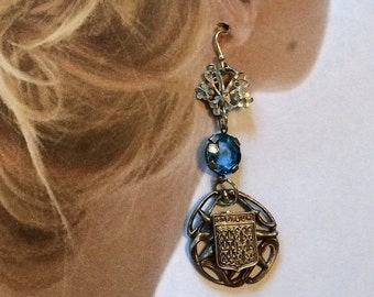 HOLIDAY SAVINGS Bohemian Bridal Earrings Blue Czech Art Deco Vintage Filigree Sheild Dangles