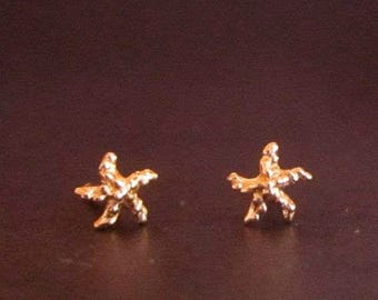 SUPER tiny ROSE gold Starfish, solid 14k, single or pair stud earring(s), starfish post, recycled solid gold, handmade in usa