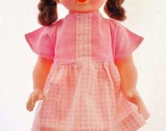 "ON SALE Vintage Hong Kong 13"" Plastic Doll, Marked Angel Hong Kong, Dark Brown Hair, Pink & White Dress, Original Shoes, Socks, Undies, Coll"
