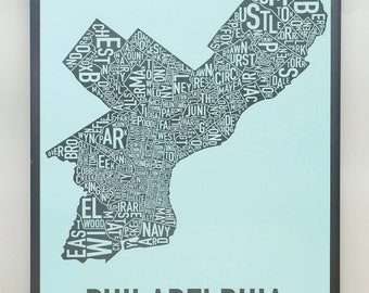Philadelphia Neighborhood Map Poster or Print, Original Artist of Type City Neighborhood Map Designs, Typography Map Art