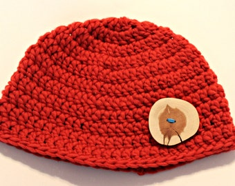 Red Wool Hat with wood button, adult natural hat READY TO SHIP women's hat men's hat