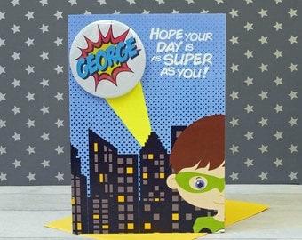 Personalised Superhero Birthday Card - Superhero Card - Boys Birthday Card - Personalised Card - Geeky Card - Super Hero Card - Personalised