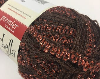 STARBELLA FLASH Brown Copper Ruffle Yarn Premier Yarns Glitter Bling Specialty Super Bulky Chunky Scarf Novelty Discontinued