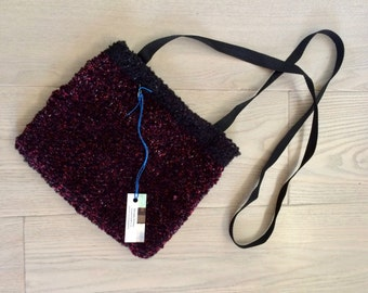 Handwoven Chenille Cross Body Bag in Burgundy and Black No.1