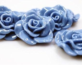 Resin Cabochon - 5pcs - Flower Cabochon - Denim Blue Flower Cabochon - Cabochon - SW005-23