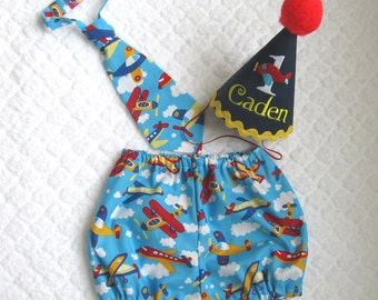 Cake Smash Outfit 1, 2, or 3 Piece Set Airplane First Birthday Outfit Diaper Cover Tie Party Hat Necktie Diaper Pantie Pants Nappy Shorts