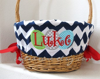 Personalized Easter Basket Liner With Eggs - NAVY CHEVRON - Girls - Boys - Mom - Dad - Free Monogram - You Choose Font and Ribbon Color 1